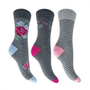 Flexitop Women's Bamboo Floral Socks - Pack of 3