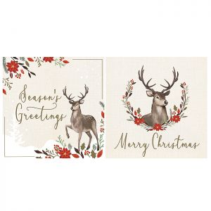 Floral Stag Christmas Cards – 12 Pack