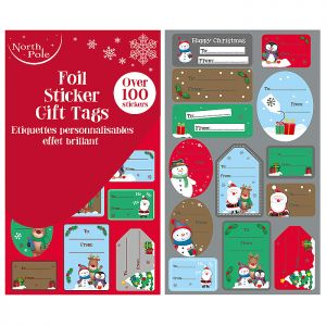 Foil Sticker Character Gift Tags - 100 Pack
