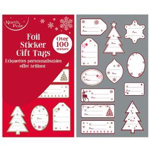 Foil Sticker Fairisle Gift Tags - 100 Pack