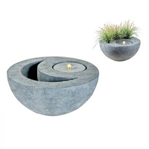 Illumax LED Bowl Water Fountain with Planter - Grey