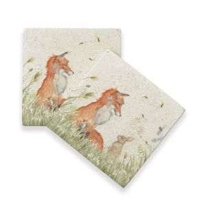 Kate of Kensington Marble Coasters – Fox and Rabbit, Pack of 4