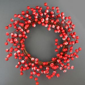 Frosted Cherry Berry Wreath - 45cm