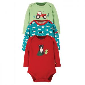 Frugi Baby Body Vest, Tractor – Pack of 3