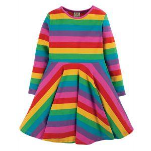 Frugi Baby Sofia Skater Dress – Foxglove Rainbow Stripe