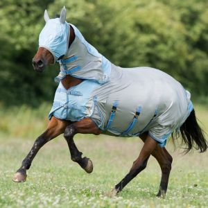 Gallop All in One Fly Mask Combo Rug Set - Silver/Blue