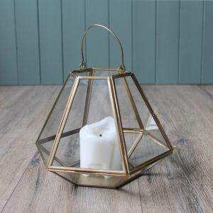 Geometric Lantern, Antique Brass – 17.5cm
