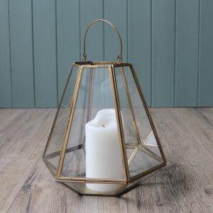 Geometric Lantern, Antique Brass – 22.5cm