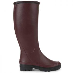 Le Chameau Women's Giverny Jersey Lined Wellington Boots - Cherry