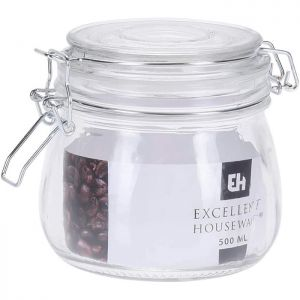 Excellent Housewares Glass Jar with Glass Lid - 500ml
