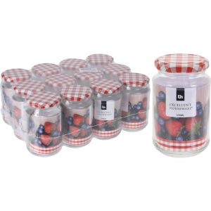 12 x Excellent Houseware Glass Jar with Metal Lid, 370ml