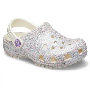 Crocs Children's Classic Glitter Clogs - Oyster