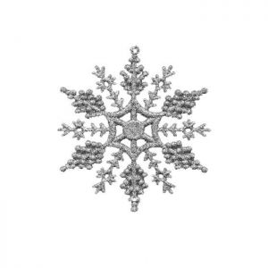Hanging Glitter Snowflakes, 6 Pack - Silver