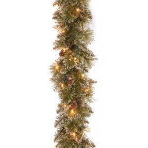 National Tree Glittery Bristle Pre-Lit Garland - 2.7m
