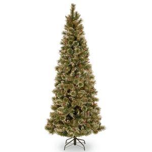 National Tree Glittery Bristle Pine Slim Christmas Tree - 7ft