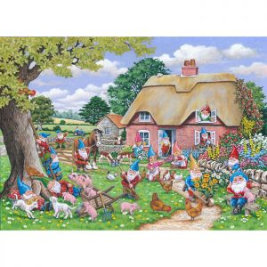 House Of Puzzles Big 500 The Harrow Collection MC541 Gnome Farm Jigsaw Puzzle - 500 Piece