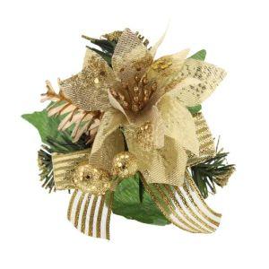 Festive Glitter Poinsettia Pick - Gold