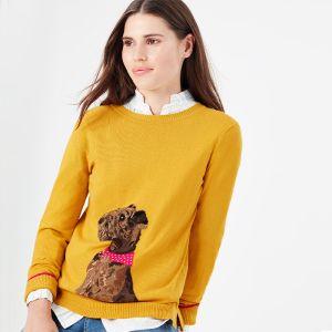 Joules Women's Miranda Knitted Crew Neck Jumper – Gold Dog