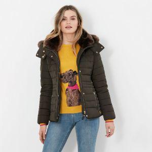 Joules Women's Gosway Fur Trim Padded Coat – Heritage Green