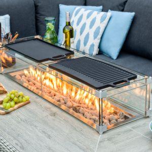 Bramblecrest Rectangular Griddle Set for Dining Table with Firepit