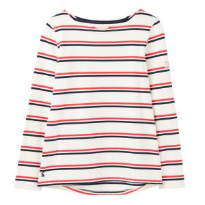 Joules Harbour Long Sleeve Jersey Top - Cream Red and Blue Stripe