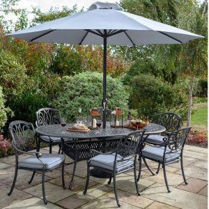 Hartman Amalfi Oval Garden Furniture Set with Parasol - 6 Seater