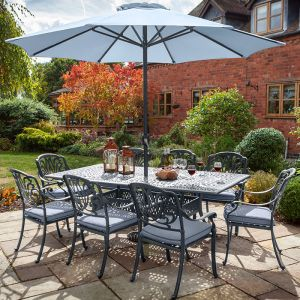 Hartman Amalfi 8 Seater Rectangular Garden Furniture Set with Parasol