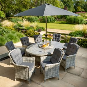 Hartman Heritage 8 Seater Oval Dining Set with Lazy Susan & Parasol - Ash/Slate