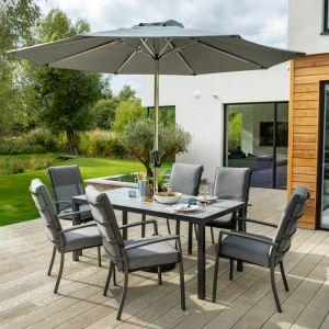 Hartman Vienna 6 Seater Rectangular Dining Set with Parasol