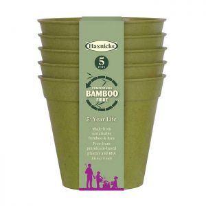 "Haxnicks Compostable Bamboo 5"" Pack of 5 Plant Pots – Sage Green"