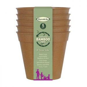 "Haxnicks Compostable Bamboo 5"" Pack of 5 Plant Pots – Terracotta"