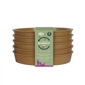 "Haxnicks Compostable Bamboo 5"" Pack of 5 Plant Saucers – Terracotta"
