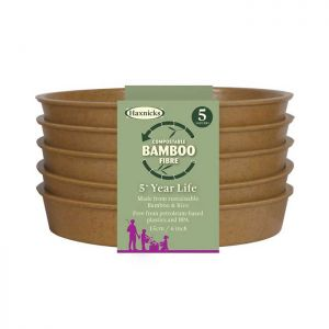 "Haxnicks Compostable Bamboo 6"" Pack of 5 Plant Saucers - Terracotta"