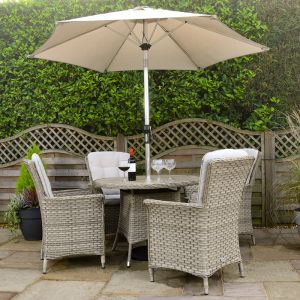 Hartman Heritage Round Dining Set with Parasol - 4 Seater, Beech/Dove