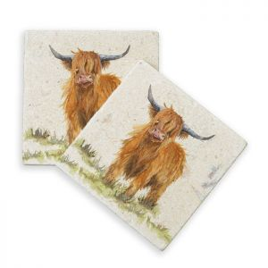Kate of Kensington Marble Coasters – Highland Cow, Pack of 4