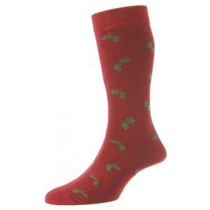 HJ Hall Men's Novelty Socks, Holly – Crimson