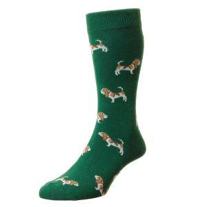 HJ Hall Men's Novelty Socks, Hounds – Forest Green