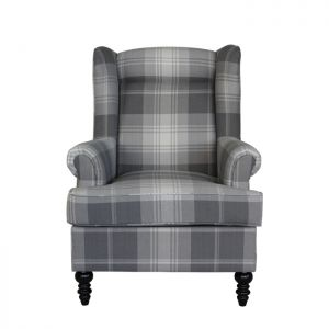 Hudson Wing Chair - Grey Check