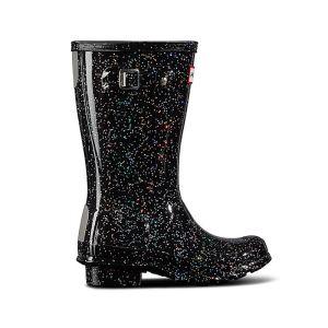 Hunter Children's Original Big Kids Glitter Wellington Boots – Black