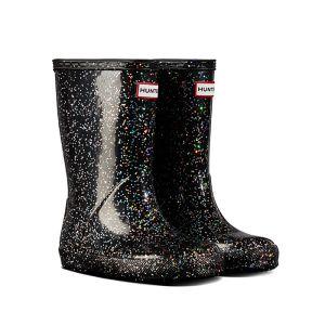 Hunter Original Children's First Classic Glitter Wellington Boots – Black