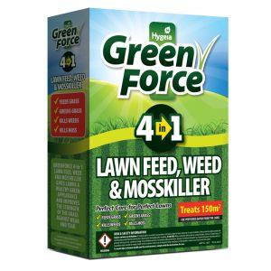 Hygeia Green Force 4 in 1 Lawn Feed, Weed & Moss Killer, 3kg – 150m²