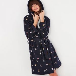 Joules Women's Idlewhile Printed Jersey Dressing Gown – Navy Dogs