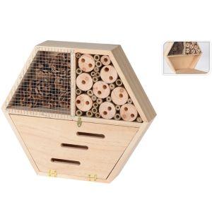 Insect Hotel Hexagon Shape - 26cm x 30cm x 6.5cm