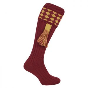 Jack Pyke Men's Harlequin Shooting Socks – Burgundy/Gold