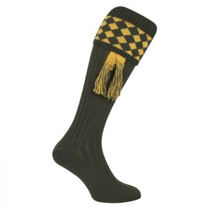 Jack Pyke Men's Harlequin Shooting Socks – Green/Gold