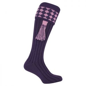 Jack Pyke Men's Harlequin Shooting Socks – Purple/Mauve