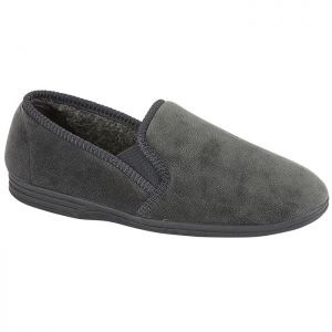 Jo & Joe Men's Jake Twin Gusset Slipper - Grey