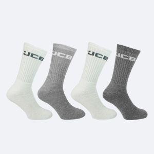 JCB White & Grey Crew Socks – Pack of 4