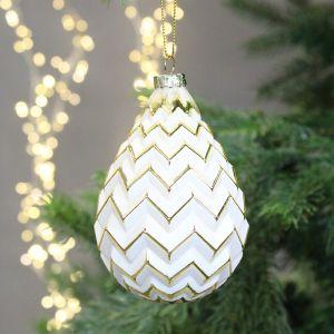 Jingles Antique Zig-Zag Pear Drop Glass Bauble, 12cm - White & Gold