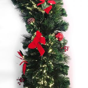 Jingles Fibre Optic Poinsettia Garland – 2m